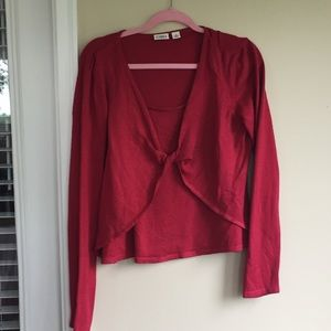Cato red knot front layered look sweater A003